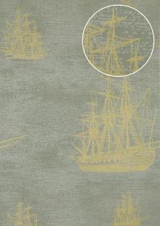 Grafik Tapete Atlas SIG-584-4 Vliestapete glatt im maritimen Design und metallischen Akzenten grau grün-grau gold 5, 33 m2