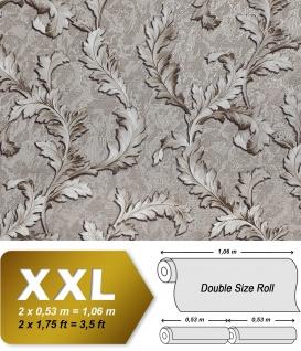 Blumen Tapete EDEM 9010-34 Vliestapete geprägt im Barock-Stil glänzend silber creme-weiß braun 10, 65 m2