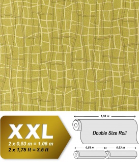 Grafik Tapete Vliestapete EDEM 972-38 XXL Objekttapete abstrakte 3D Netzstruktur Linien grün olive gold 10, 65 qm