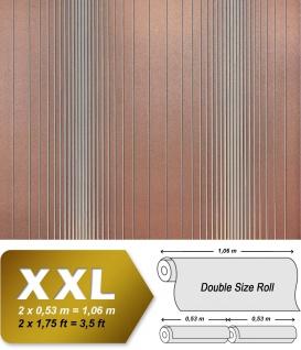 Streifen Tapete XXL Vliestapete EDEM 934-34 Hochwertige heißgeprägte Struktur Metallic Effekt braun silber metallic 10, 65 m2