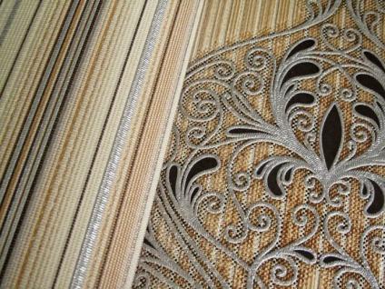 Streifen Tapete EDEM 097-21 Gestreifte Designer Tapete prunkvolle modern und edel dunkelbraun braun beige altrosa silber - Vorschau 3