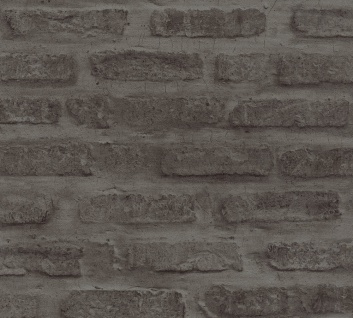 Stein Kacheln Tapete Profhome 374223-GU Vliestapete glatt in Steinoptik matt grau schwarz 5, 33 m2