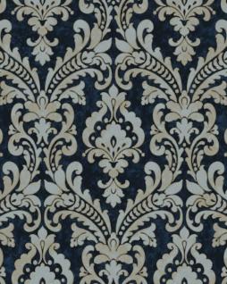 Barock Tapete Profhome VD219175-DI heißgeprägte Vliestapete geprägt im Barock-Stil schimmernd blau gold hell-grau 5, 33 m2