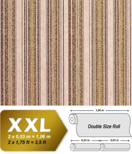 Streifen Vliestapete EDEM 938-33 XXL Vintage Tapete Barock Präge Snake-Textur olivbraun hell-braun beige 10, 65 qm
