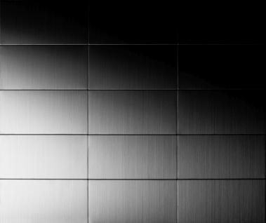 Mosaik Fliese massiv Metall Edelstahl gebürstet in grau 1, 6mm stark ALLOY Bauhaus-S-S-B 1, 05 m2 - Vorschau 4