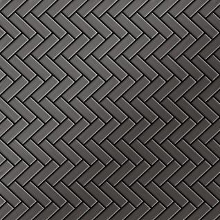 Mosaik Fliese massiv Metall Titan gebürstet in dunkelgrau 1, 6mm stark ALLOY Herringbone-Ti-SB 0, 94 m2