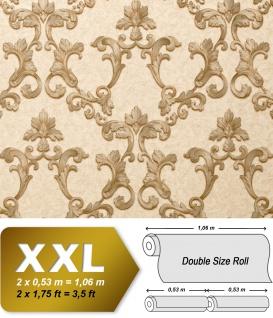 Barock Tapete EDEM 9085-22 heißgeprägte Vliestapete geprägt mit floralen 3D Ornamenten schimmernd creme grau-beige perl-gold 10, 65 m2