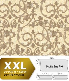 Barock Tapete EDEM 9016-34 heißgeprägte Vliestapete geprägt mit floralen 3D Ornamenten glänzend elfenbein grau-beige perl-beige hell-elfenbein 10, 65 m2