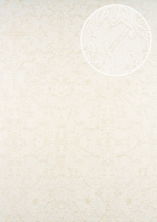 Barock Tapete ATLAS CLA-600-1 Vliestapete geprägt mit Ornamenten glänzend weiß perl-weiß perl-gold 5, 33 m2