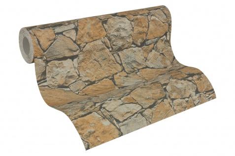 Stein Kacheln Tapete Profhome 958631-GU Vliestapete glatt in Steinoptik matt braun beige schwarz 5, 33 m2 - Vorschau 2