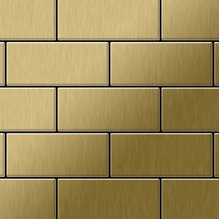 Mosaik Fliese massiv Metall Titan gebürstet in gold 1, 6mm stark ALLOY Subway-Ti-GB 0, 58 m2