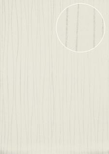 Streifen Tapete Atlas ICO-5077-1 Vliestapete glatt Design schimmernd weiß perl-weiß silber 7, 035 m2
