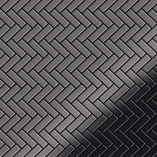 Mosaik Fliese massiv Metall Titan hochglänzend in dunkelgrau 1, 6mm stark ALLOY Herringbone-Ti-SM 0, 94 m2
