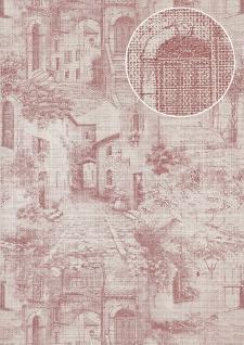 Grafik Tapete Atlas SIG-579-4 Vliestapete strukturiert im Used Look schimmernd rot rot-violett perl-weiß grau-weiß 5, 33 m2