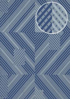 Grafik Tapete ATLAS XPL-564-8 Vliestapete strukturiert mit geometrischen Formen schimmernd blau blau-violett blau-grau silber 5, 33 m2