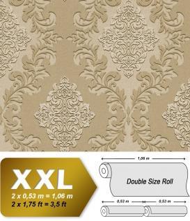 3D Barock Tapete EDEM 9123-23 heißgeprägte Vliestapete geprägt mit Ornamenten schimmernd beige hell-elfenbein 10, 65 m2