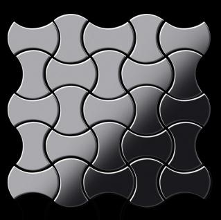 Mosaik Fliese massiv Metall Edelstahl marine hochglänzend in grau 1, 6mm stark ALLOY Infinit-S-S-MM Designed by Karim Rashid 0, 91 m2 - Vorschau 3