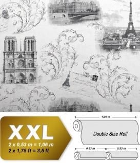 Romantische Tapete EDEM 9050-10 Vliestapete geprägt im Shabby Chic Stil Paris Eiffelturm Notre Dame schimmernd weiß grau anthrazit, 65 m2