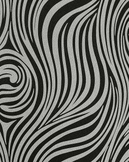 Grafik Tapete EDEM 1016-16 Zebra-Streifen Tapete Struktur-Muster hochwaschbar schwarz anthrazit silbergrau