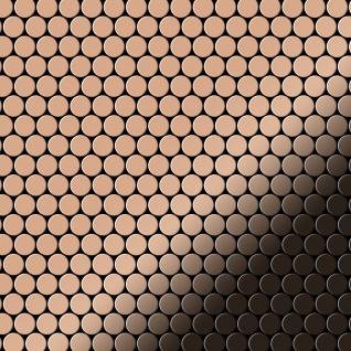 Mosaik Fliese massiv Metall Kupfer gewalzt in kupfer 1, 6mm stark ALLOY Penny-CM 0, 88 m2