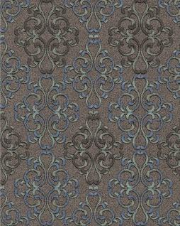 Barock Tapete EDEM 85037BR36 Tapete strukturiert mit Ornamenten glänzend braun dunkel-braun blau-grau platin 5, 33 m2