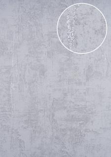 Spachtel Putz Tapete ATLAS HER-5133-4 Vliestapete geprägt im Shabby Chic Stil schimmernd silber perl-hell-grau 7, 035 m2