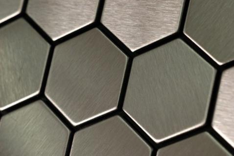 Mosaik Fliese massiv Metall Edelstahl gebürstet in grau 1, 6mm stark ALLOY Honey-S-S-B 0, 92 m2 - Vorschau 5