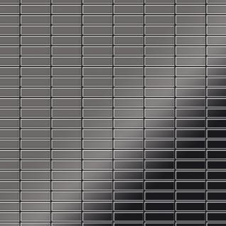 Mosaik Fliese massiv Metall Titan hochglänzend in dunkelgrau 1, 6mm stark ALLOY Cabin-Ti-SM 1, 01 m2