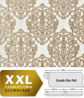 3D Barock Tapete XXL Vliestapete EDEM 648-95 Prunkvolles Damast-Muster hellbraun creme bronze dezente glitzer 10, 65 m2