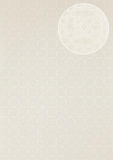Grafik Tapete Atlas PRI-559-2 Vliestapete strukturiert mit Ornamenten schimmernd weiß perl-weiß rein-weiß 5, 33 m2