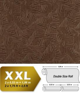 Grafik Vliestapete EDEM 913n-26 XXL Textilgewebe Flechtwerk hochwertige Designer Tapete silber kakaobraun 10, 65 qm