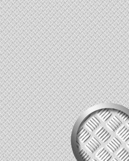 Wandpaneel 3D Struktur Decorplatte Metalloptik Wandpaneel Metall Boden Blech Optik WallFace 16438 ALU STEP Design Platte Kunststoff silber matt gebürstet | 2, 60 qm