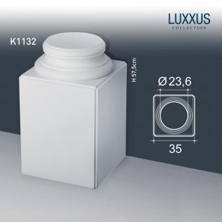 Stuck Vollsäule Orac Decor K1132 LUXXUS Sockel Säulensockel Rund Hartschaum Material leicht stabil weiß | 57 cm