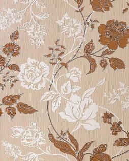 3D Blumentapete Landhaustapete EDEM 116-24 Design Blumen Floral Tapete hell-karamell weiß kupfer-braun silber