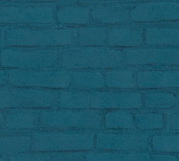 Stein Kacheln Tapete Profhome 374144-GU Vliestapete glatt in Steinoptik matt blau schwarz grün 5, 33 m2
