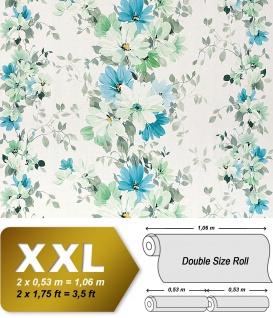 Blumen Tapete Vliestapete Landhaus Tapete EDEM 907-04 XXL Floral hochwertige Textiloptik Weiß grün türkis-blau 10, 65 qm