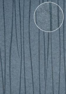 Edle Streifen Tapete Atlas COL-568-5 Vliestapete glatt Design schimmernd grau tauben-blau 5, 33 m2
