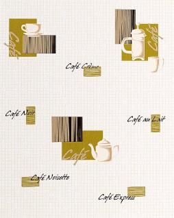 Küchen Tapete EDEM 062-25 Tapete Café Kaffeehaus-Motive Mosaiksteine Kachelstruktur weiß cremeweiß olivgrün schwarz gold