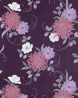 Blumen Tapete EDEM 824-29 hochwertige geprägte floral Blumentapete violett flieder hell-lila platin-grau weiß 70 cm