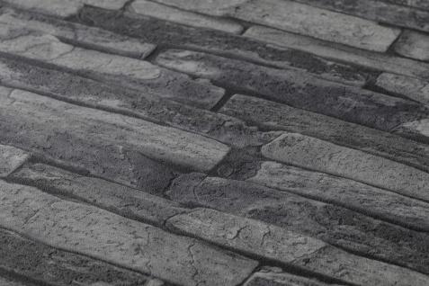 Stein Kacheln Tapete Profhome 914224-GU Vliestapete glatt in Steinoptik matt grau schwarz 5, 33 m2 - Vorschau 3