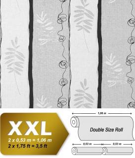 Streifen Tapete Vliestapete EDEM 685-96 XXL Design florales Muster Breite Weiß hellgrau anthrazitgrau 10, 65 qm