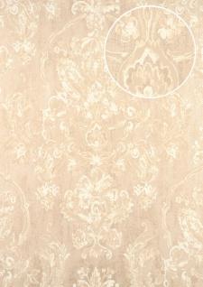 Barock Tapete ATLAS CLA-602-3 Vliestapete geprägt mit floralen Ornamenten glänzend creme perl-weiß beige-grau 5, 33 m2