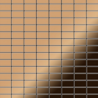 Mosaik Fliese massiv Metall Titan hochglänzend in kupfer 1, 6mm stark ALLOY Bauhaus-Ti-AM 1, 05 m2