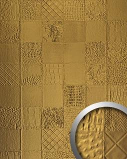 Wandpaneel Luxus 3D Leder WallFace 13926 COLLAGE Blickfang Dekor selbstklebende Tapete Wandverkleidung gold | 2, 60 qm