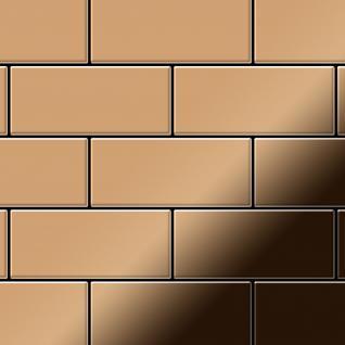 Mosaik Fliese massiv Metall Titan hochglänzend in kupfer 1, 6mm stark ALLOY Subway-Ti-AM 0, 58 m2