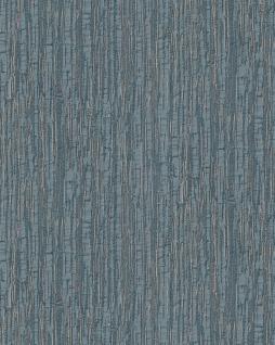 Streifen Tapete Profhome DE120087-DI heißgeprägte Vliestapete geprägt mit Streifen glänzend blau silber 5, 33 m2