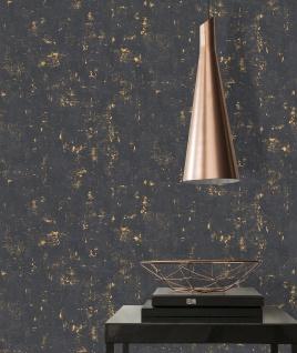 Stein Kacheln Tapete Profhome 230782-GU Vliestapete leicht strukturiert in Steinoptik matt schwarz gold 5, 33 m2 - Vorschau 5
