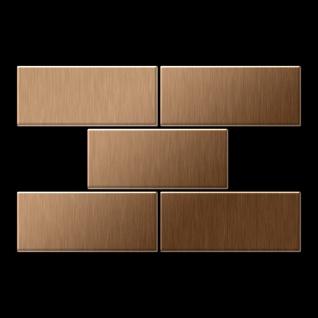 Mosaik Fliese massiv Metall Titan gebürstet in kupfer 1, 6mm stark ALLOY Subway-Ti-AB 0, 58 m2 - Vorschau 3
