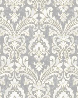 Barock Tapete Profhome VD219172-DI heißgeprägte Vliestapete geprägt im Barock-Stil schimmernd silber grau weiß 5, 33 m2