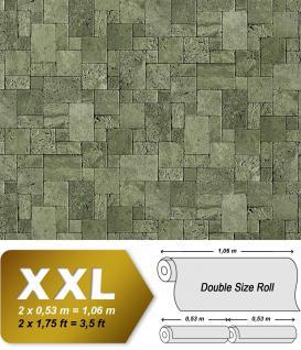 3D Stein Vliestapete EDEM 957-28 XXL stone cubes geprägte Mosaik-Stein Naturstein Optik grün-grau 10, 65 qm